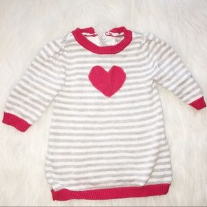 Gymboree 0-3 months striped red heart sweater